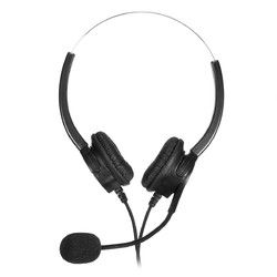RJ11 Call Center Headset Telephone Corded Wired Microphone Office Head Phone 1