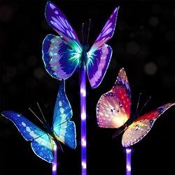3pcs Solar Multi-color Fiber Optic Butterfly LED Stake Light for Outdoor Garden Decor 1