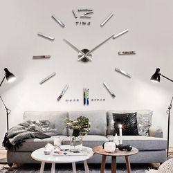 Big Large DIY Frameless Wall Clock Kit 3D Mirror Decoration Silver 1